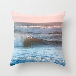 Beach Adventure Summer Waves at Sunset Throw Pillow