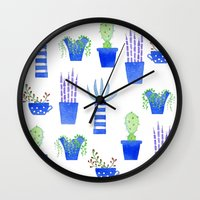 succulents Wall Clocks featuring Succulents by Nic Squirrell