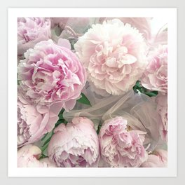 Shabby Chic Pastel Pink Peonies Wall Art - Peonies Home Decor Art Print