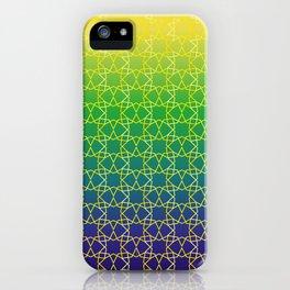 Geometry Star Pattern Yellow Green Blue iPhone Case