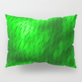 Line texture of green oblique dashes with a bright intersection on a luminous charcoal. Pillow Sham