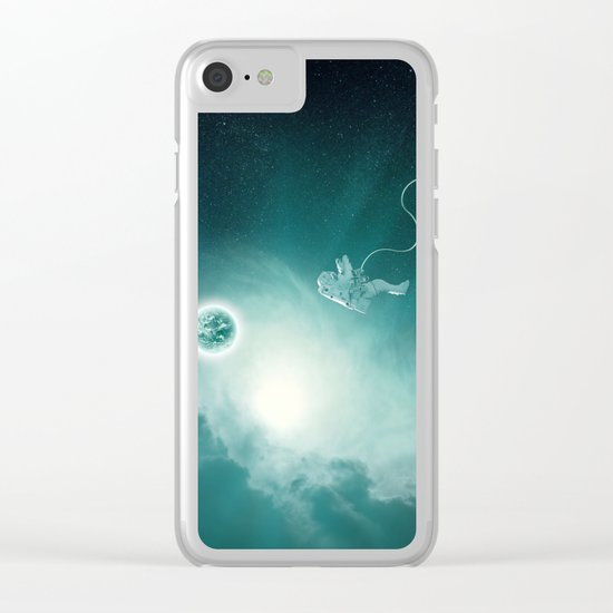 Astronaut Cast Away in Space Clear iPhone Case