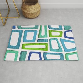Mid Century Abstract ~ Blue & Green Palette Rug