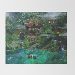 Tale of the Red Swans Throw Blanket