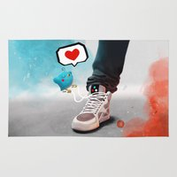 sneaker Area & Throw Rugs featuring sneaker Love by Dominik Gottherr
