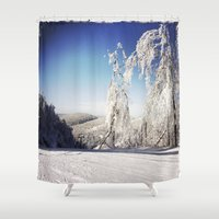 ski Shower Curtains featuring Ski  by David Nadeau
