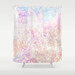 Blush Aqua Gold Fleck Marble Shower Curtain