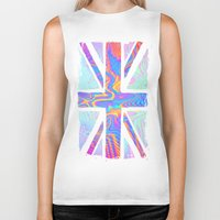 union jack Biker Tanks featuring Holographic Union Jack  by Berberism Lifestyle