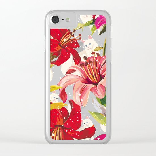 Patron flowers and cats Clear iPhone Case