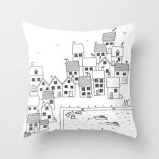 Harbour sketch Throw Pillow