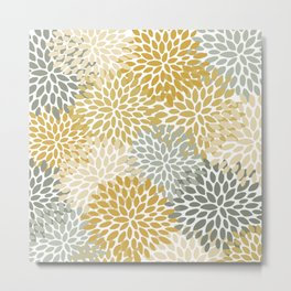 Floral Pattern, Decorative, Mustard Yellow, Gold, Gray Metal Print