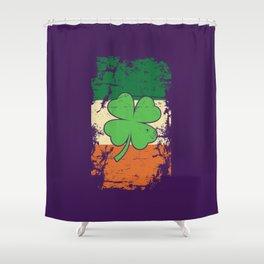 Distressed Irish Flag St Patricks Shamrock Purple Shower Curtain