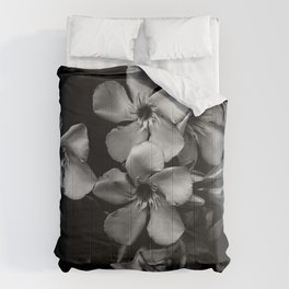 Oleander flowers in black and white Comforters