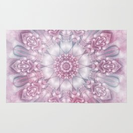 Dreams Mandala in Pink, Grey, Purple and White Rug