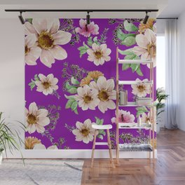 Brown Flowers Bold Pattern Purple Background Wall Mural