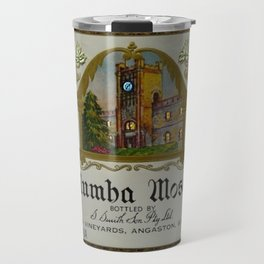 Vintage Blue Clock Yalumba Moselle Wine Bottle Label Print Travel Mug