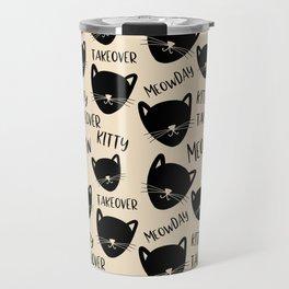 Funny black ivory kitty cat modern typography Travel Mug