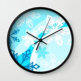 Blue Flower Art Winter Holiday Wall Clock