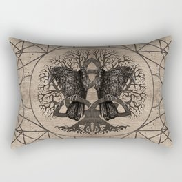 Tree of life - with ravens wooden texture Rectangular Pillow