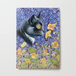 """Cat and Nasturtiums"" by Louis Wain Metal Print"