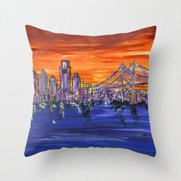 Ben Franklin Bridge Sunset Throw Pillow