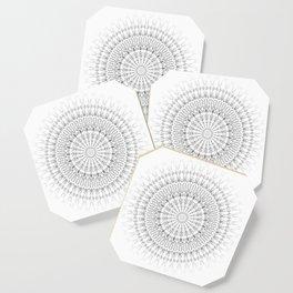 Light Grey White Mandala Coaster