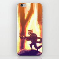 rocket raccoon iPhone & iPod Skins featuring Rocket Raccoon by Mimi JJ
