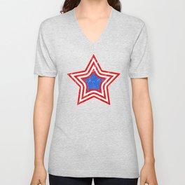 Patriotic Vintage Star Blue Center Red and White Stripes Unisex V-Neck