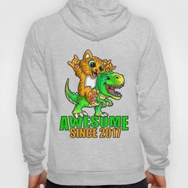 Awesome Since 2017 Kids Boy Girl Birthday Gift Cat Dinosaur graphic Hoody