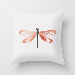 Rose Gold Dragonfly Throw Pillow