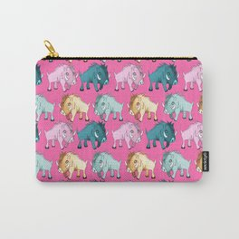 Cute Pink Kawaii Wild Boar Watercolor Pattern Print Carry-All Pouch
