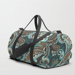 Turquoise Brown Vintage Paisley Duffle Bag