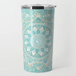 Elegant White Gold Mandala Sky Blue Design Travel Mug