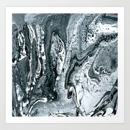 Fossil Creek - Black, Gray, and White Marbled Painting Art Print
