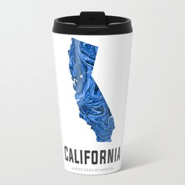 California - State Map Art - Abstract Map - Blue Travel Mug