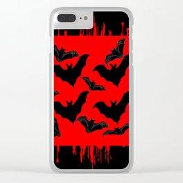 RED HALLOWEEN BATS ON BLEEDING RED ART DESIGN Clear iPhone Case