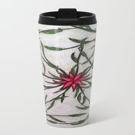 red and green flower- patern Travel Mug