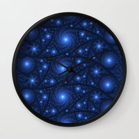 starry night Wall Clocks featuring Starry Starry Night by Lyle Hatch