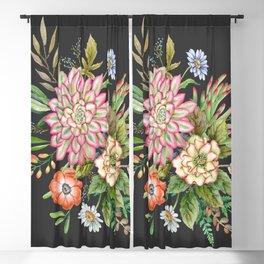 Watercolor succulents #61 Blackout Curtain