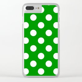 Islamic green - green - White Polka Dots - Pois Pattern Clear iPhone Case