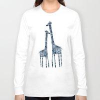 giraffes Long Sleeve T-shirts featuring giraffes by Bunny Noir