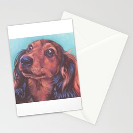 The long haired Dachshund from an original painting by L.A.Shepard Stationery Cards