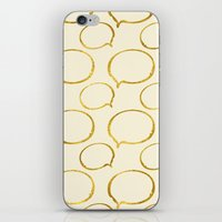 gold foil iPhone & iPod Skins featuring Cream Gold Foil 01 by Aloke Design