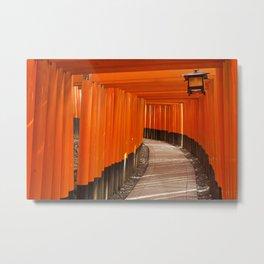 Torii gates of the Fushimi Inari Shrine in Kyoto, Japan Metal Print
