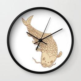 Koi Nishikigoi Carp Diving Down Drawing Wall Clock