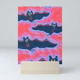 Turquoise Batty Flight Mini Art Print
