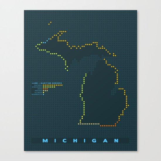 MDOT - Michigan Land & Maritime Borders Canvas Print