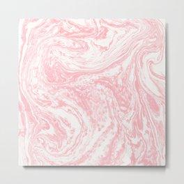 Pastel pink white watercolor modern marble pattern Metal Print