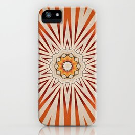 Ray of Light // Geometric Abstract Red Orange Rays Sunlight Energy Vibrant Psychedelic Circle Retro iPhone Case