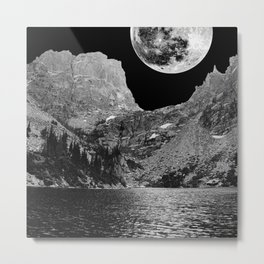 Rocky Mountain Moon Scenic Landscape View Vector  Metal Print